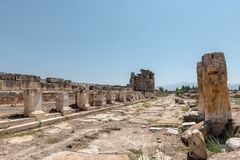 Ancient city of Hierapolis in Pamukkale, Turkey. stock image