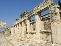 Ancient city of Hierapolis. Hierapolis was an ancient city located on hot springs in classical Phrygia in southwestern Royalty Free Stock Photos
