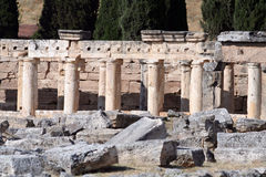 Ancient city of Hierapolis. Hierapolis was an ancient city located on hot springs in classical Phrygia in southwestern Anatolia. Its ruins are adjacent to modern royalty free stock image