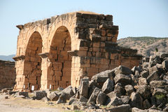 Ancient city of Hierapolis. Hierapolis was an ancient city located on hot springs in classical Phrygia in southwestern Anatolia. Its ruins are adjacent to modern royalty free stock photography