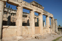 Ancient city of Hierapolis. Hierapolis was an ancient city located on hot springs in classical Phrygia in southwestern Anatolia. Its ruins are adjacent to modern stock images