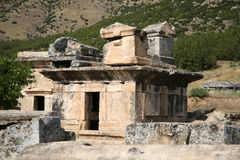 Ancient city of Hierapolis. Hierapolis was an ancient city located on hot springs in classical Phrygia in southwestern Anatolia. Its ruins are adjacent to modern Stock Photo