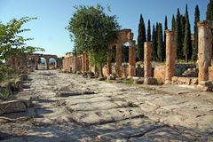 Ancient city of Hierapolis. Hierapolis was an ancient city located on hot springs in classical Phrygia in southwestern Anatolia. Its ruins are adjacent to modern royalty free stock photos
