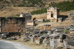 Ancient city of Hierapolis. Hierapolis was an ancient city located on hot springs in classical Phrygia in southwestern Anatolia. Its ruins are adjacent to modern stock photos