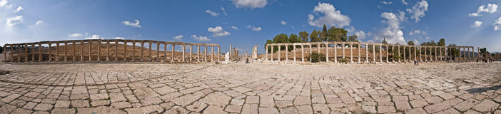 Ancient city of Jerash. Panorama of the ancient city of Jerash, Jordan Stock Photo