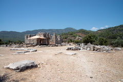 Ancient city of Kaunos, Dalyan valley, Turkey Royalty Free Stock Images
