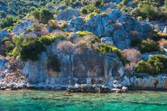 Ancient city on the Kekova Royalty Free Stock Photography