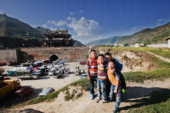 Ancient city kids. The upstream areas of Mingjiang River include five counties, they are Tibetan Songpan of Qiang automonous prefecture of Aba of today. The stock images