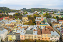 The ancient city of Lviv - the view from the height, tilt-shift. Stock Photos