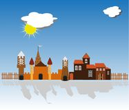 Ancient city, medieval, fortress, sunny day, sun, clouds. Reflection of buildings on the ground vector illustration