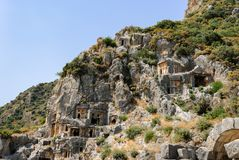 Ancient city of Myra near Demre. Turkey, tombs made in the rock. Ancient city of Myra near Demre. Turkey. Asia Minor, ancient tombs made in the rock Royalty Free Stock Images