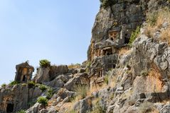 Ancient city of Myra near Demre. Turkey, tombs made in the rock Royalty Free Stock Photo