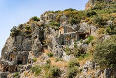 Ancient city of Myra near Demre. Turkey, tombs made in the rock Stock Images