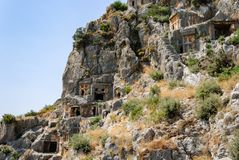 Ancient city of Myra near Demre. Turkey, tombs made in the rock Royalty Free Stock Photos