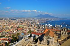 The ancient city of Naples seen from above. stock photo