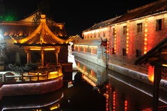 Ancient city night piece. Ancient city, shandong province, China Taierzhuang night piece stock photos