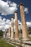 The ancient city of Nysa, Aydin, in Turkey. The columns in commercial agora , Nysa, Turkeyrr Royalty Free Stock Photography