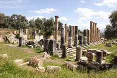 The ancient city of Nysa, Aydin, in Turkey. The columns in commercial agora , Nysa, Turkeyrr Royalty Free Stock Images