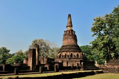 Ancient City Old town and Old Temple Old Buddha ( Kamphaeng Phet Historical Park) Stock Photos