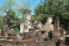 Ancient City Old town and Old Temple Old Buddha ( Kamphaeng Phet Historical Park) Stock Image