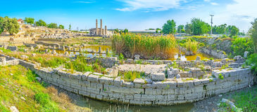 The ancient city. Panoramic view on flooded foundation of ancient temples in ancient Letoon city, Turkey Royalty Free Stock Photo