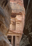 Ancient city of Petra. Viewed through narrow gorge, Jordan Royalty Free Stock Photo