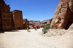 The ancient city of Petra. Jordan. The ruins of the ancient city of Petra. Jordan. The city was built in the mountains. Buildings carved out of the mountains Royalty Free Stock Images