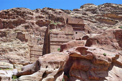 The ancient city of Petra. Jordan. The ruins of the ancient city of Petra. Jordan. The city was built in the mountains. Buildings carved out of the mountains Royalty Free Stock Image