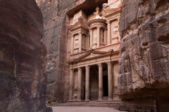 Ancient City of Petra and Treasury entrance with many layers on Stock Image