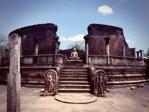 Statue of the Buddha in Polonnaruwa stock photo