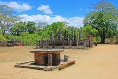 Ancient City of Polonnaruwa`s Nissankalata Mandapa Temple - Sri Lanka UNESCO World Heritage. Polonnaruwa was the second capital of Sri Lanka after the stock images