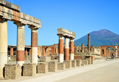 Ancient city of Pompeii, Italy. Roman town destroyed by Vesuvius volcano royalty free stock photo