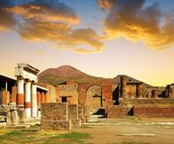Ancient city of Pompeii at sunset, Italy. Roman town destroyed by Vesuvius volcano Stock Image