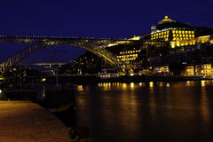 Ancient city Porto,metallic D.Luis bridge at night Royalty Free Stock Image