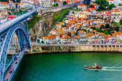 Ancient city Porto,metallic Dom Luis bridge Stock Image