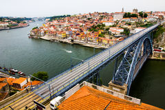 Ancient city Porto,metallic Dom Luis bridge Stock Photography