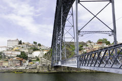 Ancient city Porto,metallic Dom Luis bridge Royalty Free Stock Images