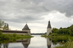 Ancient city Pskov. Russia. Kind on a tower and a fortification of the Kremlin Royalty Free Stock Images