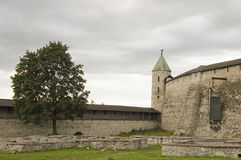 Ancient city Pskov. Russia. Courtyard of the Kremlin. Kind on a tower and a fortification Royalty Free Stock Photos