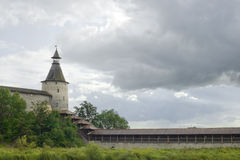 Ancient city Pskov. Russia. Kind on a tower and a fortification of the Kremlin Stock Photos