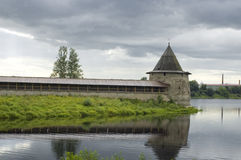Ancient city Pskov. Russia. Kind on a tower and a fortification of the Kremlin Stock Image