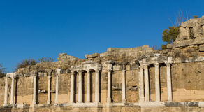 Ancient city ruins in Side, Turkey. Side ancient city ruins on the southern Mediterranean coast of Turkey Stock Image