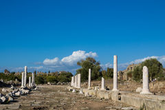 Ancient city ruins in Side, Turkey Stock Images
