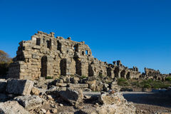 Ancient city ruins in Side, Turkey Stock Photo