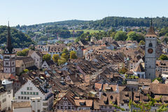 Ancient city  Schaffhausen, Switzerland.  Top view . Royalty Free Stock Photo