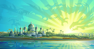 Ancient city and a sky dragon royalty free illustration