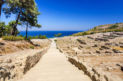 Ancient city stairs in Kamiros ruins Stock Photo