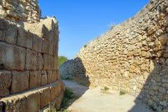Ancient city street. Street of ancient Greek city Chersonese, Ukraine, Crimea Royalty Free Stock Photo