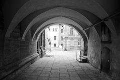Ancient city street passage. In Lviv, Ukraine Royalty Free Stock Photos