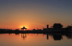 The ancient city of sunset. Shot in the Inner Mongolia Autonomous Region Alashan banner Stock Photography